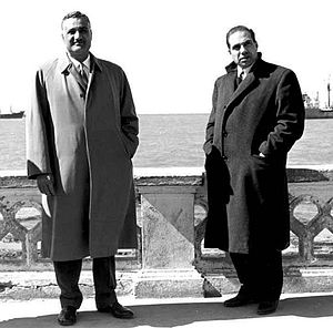 Abdel Hamid al-Sarraj - Sarraj (right) with UAR President Gamal Abdel Nasser in Latakia, March 1959