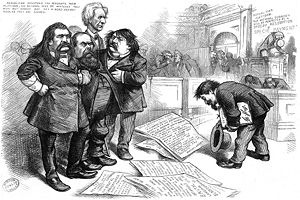 Oliver P. Morton - Thomas Nast asks Morton and three other huffy-looking inflationist senators, Simon Cameron, John A. Logan, and Matthew Carpenter, to pardon him for his caricatures, Harper's Weekly, June 6, 1874