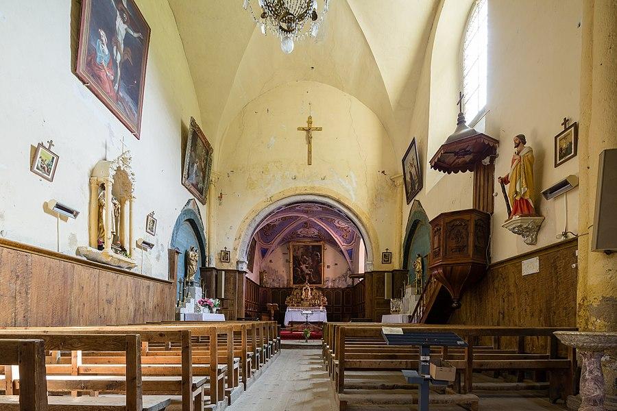 Français:  Nef de l'église Saint-Laurent d'Arvieux (France).