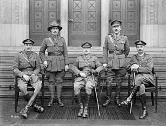 Andrew Hamilton Russell - Russell, centre front, with some of the senior officers of the New Zealand Division, 1919