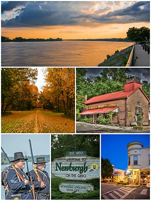 Newburgh, Indiana - Top to bottom, left to right: Newburgh riverfront, Angel Mounds, Newburgh Country Store, Re-enactors of the Newburgh Raid, town welcome sign, and Exchange Hotel