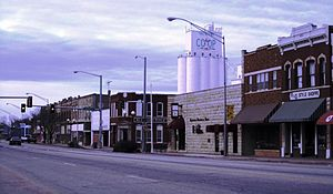 Newkirk, Oklahoma - Main Street with grain elevator in background (2011)