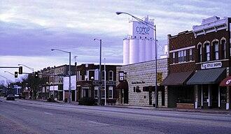 Newkirk, Oklahoma - Main Street with grain elevator in background (2011)