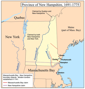 Northern boundary of Massachusetts - A map showing the rival claims of Massachusetts Bay and New Hampshire