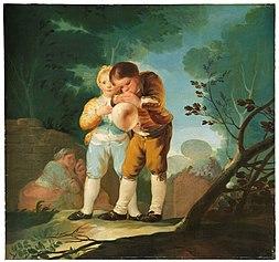 Enfants gonflant une vessie