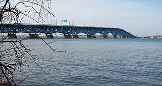 North Grand Island Bridge twin bridges in western New York state