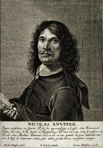 Nikolaus Knüpfer - Nicolaes Knupfer's self-portrait, engraved by Pieter de Jode II for Het Gulden Cabinet p 115