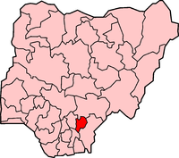 Location of Ebonyi State in Nigeria