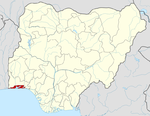 Map of Nigeria highlighting Lagos State