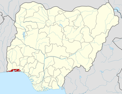 Location of Lagos State in Nigeria