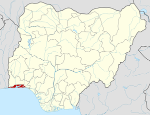 Roman Catholic Archdiocese of Lagos - Image: Nigeria Lagos State map