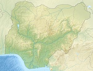 Enugu indicated in a map of Nigeria