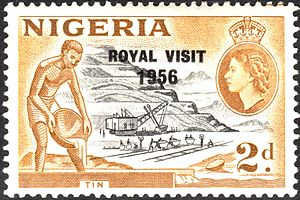Queen of Nigeria - A stamp of Nigeria overprinted to mark the Queen's visit in 1956