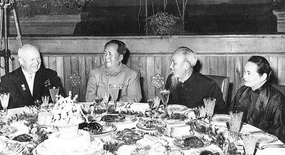 Nikita Khrushchev, Mao Zedong, Ho Chi Minh and Soong Ching-ling