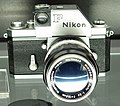 Nikon F body with 135mm Nikkor lens.jpg