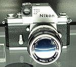 Nikon F body with 135mm Nikkor lens.jpg
