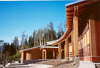 Gitlaxt'aamiks - The Nisga'a Lisims Government Building and forecourt in 2000 (before completion)