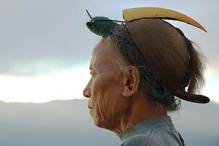 A Nishi tribesman wearing the traditional head-dress having a hornbill beak.