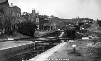 Manchester Bolton & Bury Canal - Nob End Locks in operation