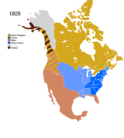 Map showing Non-Native Nations Claim_over NAFTA countries c. 1809