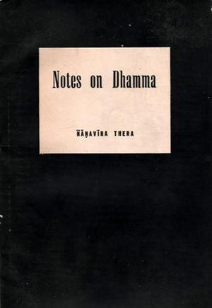 Nanavira Thera - Cover of the first copy of Notes on Dhamma (1963).