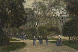 Nonnes et Écolières dans le jardin des Tuileries, Paris
