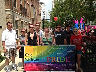 Ohio Wesleyan University - Ohio Wesleyan President with students at the Columbus LGBT Pride Festival 2013.