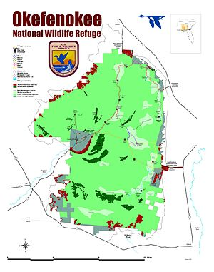 Okefenokee National Wildlife Refuge - Map of Okefenokee NWR