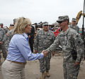 Oklahoma Gov. Mary Fallin, left, meets with U.S. Army Staff Sgt. Justin Ellison, right, with the 45th Infantry Brigade Combat Team, Oklahoma Army National Guard, May 28, 2013, during a tour through the Plaza 130528-Z-VF620-4750.jpg