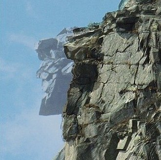 Old Man of the Mountain - A composite image of the Old Man of the Mountain created from images taken before and after the collapse.