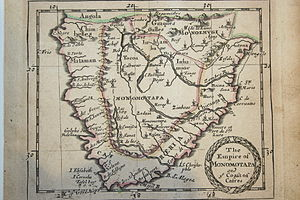 Kingdom of Mutapa - A sixteenth-century Portuguese map of Monomotapa lying in the interior of southern Africa.