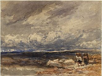 Besom - On Carrington Moss, 1851, David Cox, shows individuals gathering material for Besoms.
