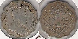 One Anna Coin of British India, 1907.jpg