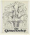 Ontwerp voor de omslag van 'De Gemeenschap', met een voorstelling van vogels in een boom.jpeg