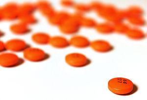 Orange aspirin tablets. Flickr data (on upload...