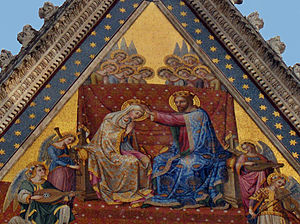 Orvieto Cathedral - Coronation of the Virgin mosaic on the top gable of the cathedral.
