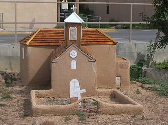 Taos Downtown Historic District - Model of the second Our Lady of Guadalupe Parish