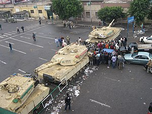 Outside midtown of Tahrir area, Cairo during martial law, 4 February 2011.jpg