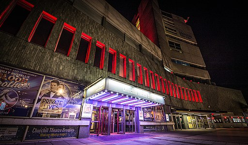 Outside the Churchill Theatre at night