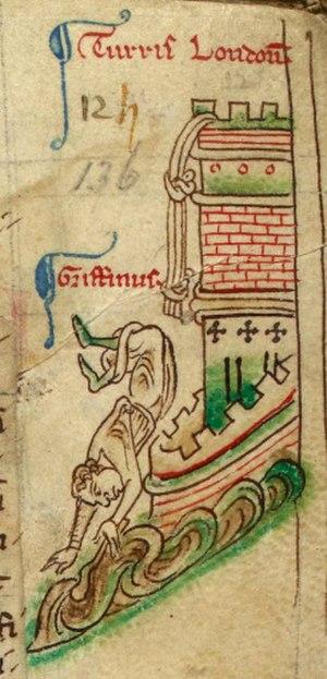 Gruffydd ap Llywelyn Fawr - Gruffydd falling from the Tower of London