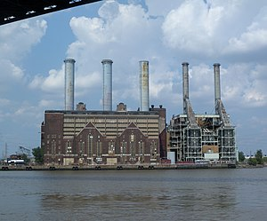 Peaking power plant - Kearny Generating Station, a former coal-fired base load power plant, now a gas-fired peaker, on the Hackensack River in New Jersey