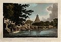 Pagoda at Thanjavur, Tamil Nadu. Coloured etching by William Wellcome V0050426.jpg