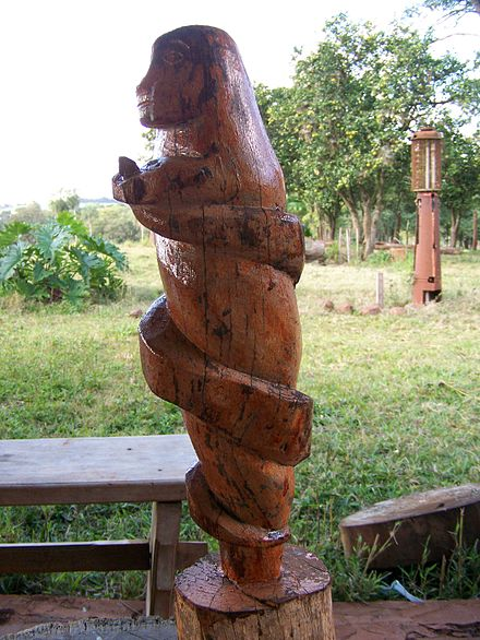 Pai Tavytera traditional woodcarving, Amambay Department, Paraguay, 2008 Pai Tavytera indian traditional wood carving.JPG