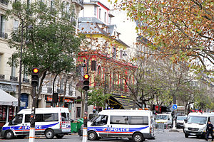 November 2015 Paris attacks - French police gathering evidence at the Bataclan theatre on 14 November