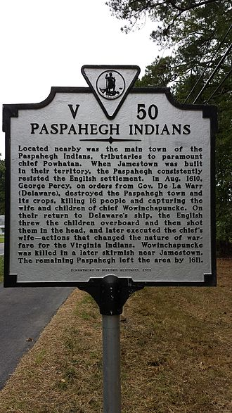 Paspahegh - Paspahegh historical marker erected in Charles City County along Virginia State Route 5 by the Department of Historic Resources, 2005.