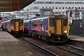 Passing trains, Salford Central railway station (geograph 4500629).jpg