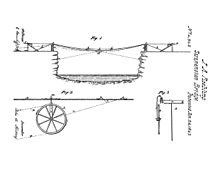 On the top is a cross-sectional sketch of a river. Spanning the gap is a wire, which is suspended between two posts; the ends of the wire are attached to two devices on the opposing banks. At the bottom-left is a wheel traveling on the wire, and at the bottom-right is the cross-sectional view of the wheel.