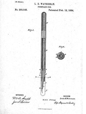 Lewis Waterman - Waterman's fountain pen, patented February 12, 1884