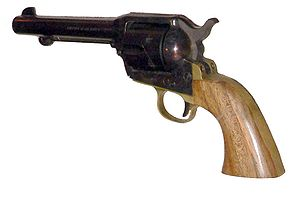"Side arm -  A modern version of Colt's  ""Single Action Army"" revolver, used as a sidearm by the US cavalry in the late 1800s"