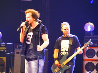 First Direct Arena - Eddie Vedder and Jeff Ament of Pearl Jam at the First Direct Arena, 8 July 2014